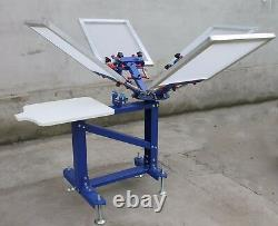 4 Color 1 Station Screen Printer Silk Press Machine Shirt Adjustable Equipment