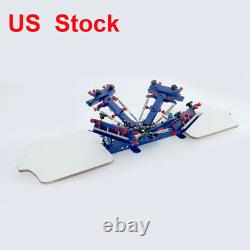4 Color Silk Screen Printing Kit Rotary Press Machine with Ink Squeegee Supplies