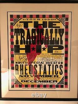 Tragically Hip 1996 Tour silk screen printed poster signed, framed, mint