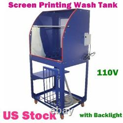 USA-Silk Screen Printing Wash Tank Rinse Sink Washout Booth with Backlight 110V